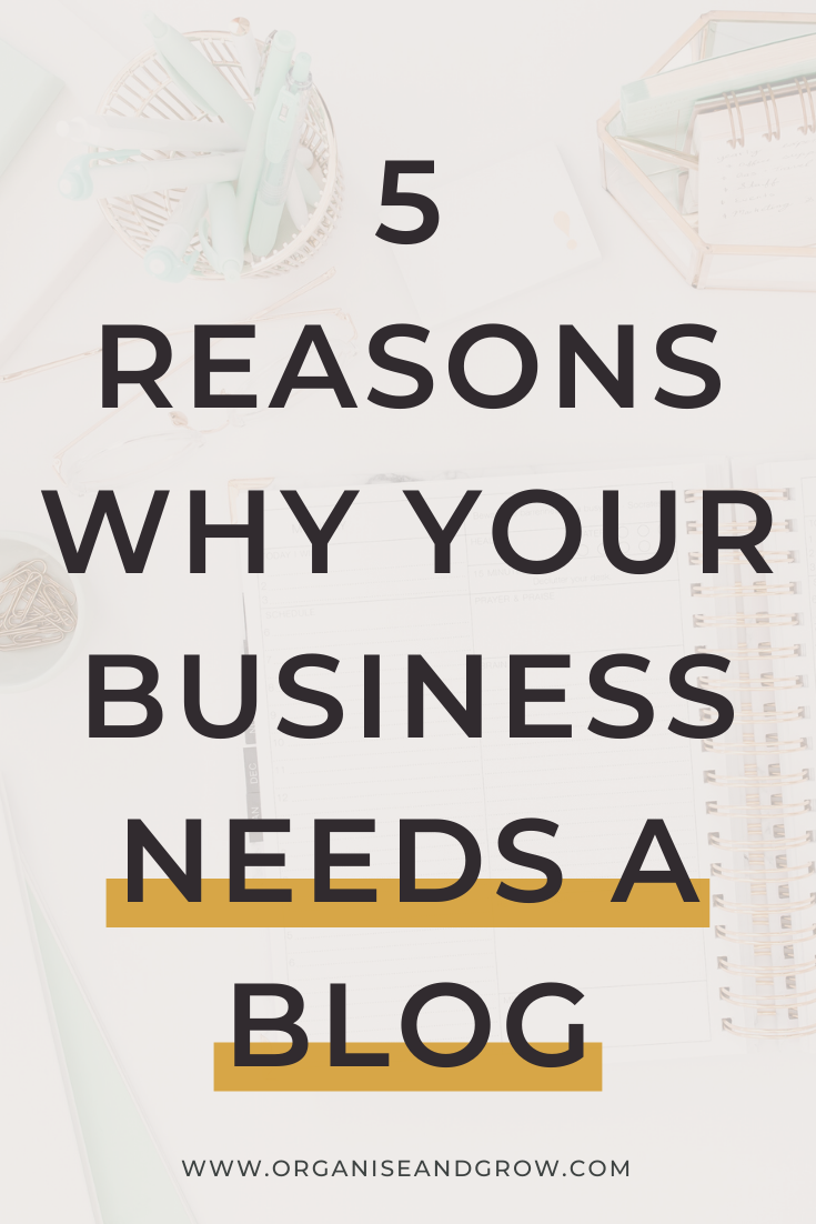 Every business needs a blog. It's a great way to drive traffic to your website and establish yourself as an expert in your niche. 5 reasons why your business needs a blog #bloggingtips #businesstips #smallbusinesstips
